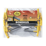 "Bondhus Hex Wrench Set, 8 Pieces, 3/32"" to 1/4"", T-Handle with Cushioned Grip, Graduated Lengths, in Pouch"