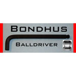 "Bondhus Hex Ball End Wrench, 12mm, Long Length, L Shaped, 8.7"" Long, with Hang Tab"