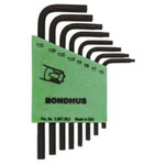 Bondhus Torx Wrench Set, 8 Piece, T6 to T25, Short Length, L Shape, in Twist-to-Lock Plastic Case
