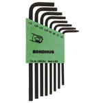 Bondhus Tamper Proof Torx Wrench Set, 8 Piece, T6 to T25, Long Length, L Shaped, Twist-to-Lock Plastic Case