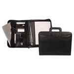 Bond Street Zippered Tablet-iPad Organizer with Removable Binder, Black Leather