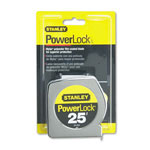 "Stanley Bostitch Powerlock II Power Return Rule, 1"" x 25 ft., Chrome/Yellow"