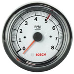 "Bosch Group 3-3/8"" Tachometer White/Chrome"
