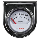 "Bosch Group 2"" Electrical Voltmeter Gauge, White Face"