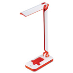 "Black & Decker LED Fold Desk Lamp, 2 Prong, 17 1/2"", White/Red"