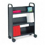 Bretford Single Sided Three Shelf Book & Utility Cart, 27w x 13d x 43h, Raven Black