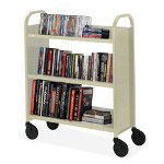 "Bretford Book Truck, 3 Shelves, 5"" Cast, 2 Locking, 36"" x 18"" x 44"", PY"