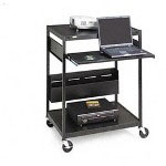 Bretford ECILS1-BK Steel Multimedia AV Presentation Cart w/Three Shelves, 32w x 24d x 42h, Black