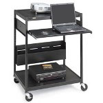 "Bretford Data Projector Cart, 4 Outlets, 20' Cord, 32""x24""x42"", Black"