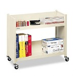 "Bretford One Sided Steel Book Cart, 2 Slant Shelves, 2"" Casters, 28wx13dx24 1/2h, Putty"