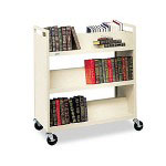 "Bretford Double Sided Steel Book Cart, 6 Slant Shelves, 4"" Casters, 37wx18dx42h, Putty"