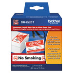 "Brother Continuous Paper Label Tape, 2-1/2"" x 50 ft, Black/White"