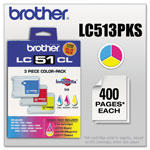 Brother LC513PKS Cyan, Magenta, Yellow Inkjet Cartridges, 400 Pages