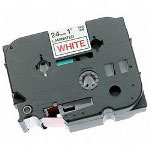 "Brother TZ Tape Cartridge, TZ Standard Laminated Tape, Red on White, 1""W"