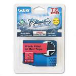 "Brother TZ Tape Cartridge, TZ Standard Laminated Tape, Black on Red, 1""W"