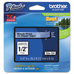 "Brother Laminated Tape Cartridge, For TZ Models, 1/2"", Black/Clear"