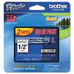 "Brother Laminated Tape Cartridge, For TZ Models, 1/2"", 2/Pack, Black/Clear"