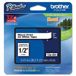 "Brother TZ Standard Adhesive Laminated Labeling Tape, 1/2"" x 16.4 ft., White/Lime Green"