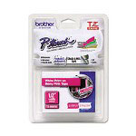 "Brother TZ Standard Adhesive Laminated Labeling Tape, 1/2"" x 16.4 ft., White/Berry Pink"