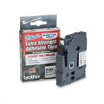 "Brother TZ Extra Strength Adhesive Tapes Laminated, Black on Clear, 1/4""W"