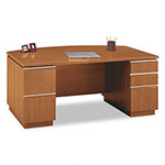 "Bush Milano Bow Front Double Ped Desk, 71 1/8""w x 36 1/8""d x 29 5/8""H, Golden Anigre"
