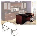 Bush Bow Front Desk, Milano Collection, 71 1/8w x 36 1/8d x 29 5/8h, Harvest Cherry