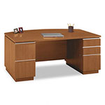 "Bush Milano Series Bow Front Ped Desk, 71 1/8""w x 36 1/8""d, Golden Anigre"