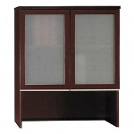 "Bush Bookcase Hutch with Glass Doors, 35-3/4"" x 15-3/8"" x 43-1/8"", Cherry"