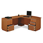 "Bush Milano L-Desk, 71 1/8""w x 81 1/2""d x 29 5/8""h, Golden Anigre"