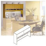 Bush Hutch, for Credenza, Milano Collection, 66w x 15 3/8d x 43 1/8h, Harvest Cherry