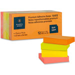 "Business Source Adhesive Notes, Plain, 1-1/2""x2"", 100 Sh/PD, 12PD/Pack, Neon"