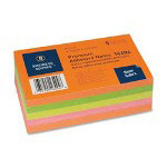 "Business Source Adhesive Notes, Plain, 3""x5"", 100 Sh/PD, 5PD/Pack, Neon Assorted"