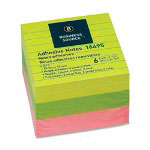 "Business Source Adhesive Notes, Ruled, 3""x3"", 100 Sh/PD, 6/Pack, Neon Assorted"