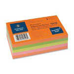 "Business Source Adhesive Notes, Ruled, 3""x5"", 100 Sh/PD, 5/Pack, Neon Assorted"