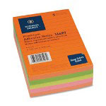 "Business Source Adhesive Notes, Ruled, 4""x6"", 100 Sh/PD, 5/Pack, Neon Assorted"