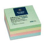 "Business Source Adhesive Note Cubes, 3""x3"", 400 Sheets, Pastel"