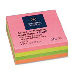 "Business Source Adhesive Note Cubes, 3""x3"", 320 Sheets, Bright"