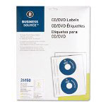Business Source Label, CD/DVD, Inkjet, Glossy, 20 Pack, White