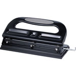 Business Source 3-Hole Punch, Heavy-Duty, Adjustable, 40 Sheet Cap, Black