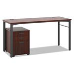 Basyx by Hon Manage Series Table Desk with Pedestal, 60w x 23 1/2d x 29 1/2h, Chestnut