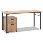 Basyx by Hon Manage Series Table Desk with Pedestal, 60w x 23 1/2d x 29 1/2h, Wheat