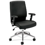 "Basyx by Hon VL101 Leather Management Chair, 20"" x 18-3/4"" x 24-1/4"", Black"