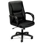"Basyx by Hon VL161 Leather Management Chair, 19"" x 18-3/4"" x 26-3/8"", Black"
