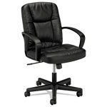 "Basyx by Hon VL171 Leather Management Chair, 19-3/8"" x 17-3/4"" x 21-3/4"", Black"