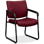 Basyx by Hon VL443 Series Sled Base Guest Chair with Burgundy Fabric, Black Frame