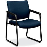 Basyx by Hon VL443 Series Sled Base Guest Chair with Navy Fabric, Black Frame