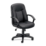 "Basyx by Hon Managerial Mid Back Chair, 26"" x 33 1/2"" x 43"", Black Leather"