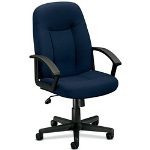 "Basyx by Hon Managerial Mid Back Chair, 26"" x 33 1/2"" x 43"", Navy"