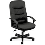 Basyx by Hon VL641 Series Leather High-Back Swivel/Tilt Chair, 25 3/4w x 28 1/2d x 47h, Black