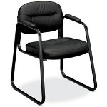 Basyx by Hon VL653 Guest Side Chair, Black Leather/Black Frame